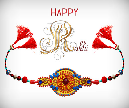 jewels: greeting card for indian festive sisters and brothers Raksha Bandhan with calligraphy inscription Happy Rakhi and original handmade bangle with gold and jewel, vector illustration