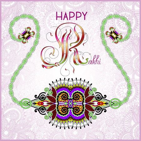 brothers: greeting card for indian festive sisters and brothers Raksha Bandhan with calligraphy inscription Happy Rakhi and original handmade bangle on floral background, vector illustration