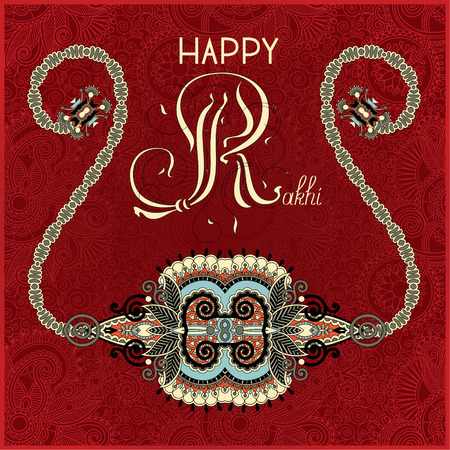 raksha: greeting card for indian festive sisters and brothers Raksha Bandhan with calligraphy inscription Happy Rakhi and original handmade bangle on floral background, vector illustration