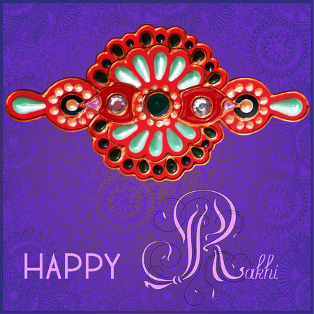 brothers: greeting card for indian festive sisters and brothers Raksha Bandhan with calligraphy inscription Happy Rakhi and original handmade bangle with gold and jewel on violet background, vector illustration