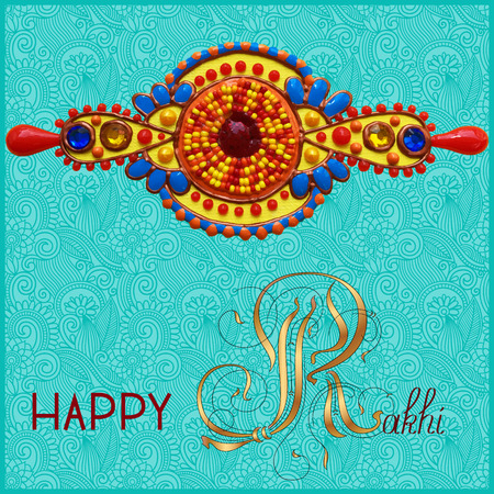 brothers: greeting card for indian festive sisters and brothers Raksha Bandhan with calligraphy inscription Happy Rakhi and original handmade bangle with gold and jewel on a blue background, vector illustration