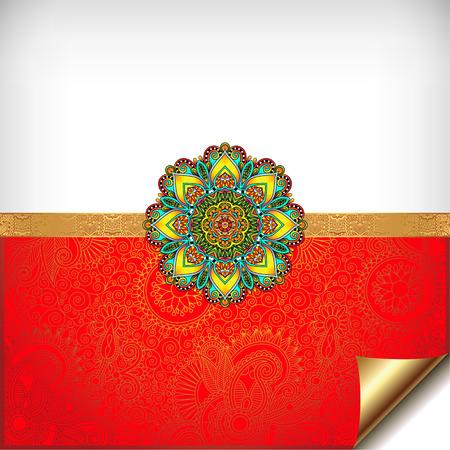 bangle: gold and red Happy Rakhi greeting card for indian holiday Raksha Bandhan with original ornamental bangle on floral background, vector illustration