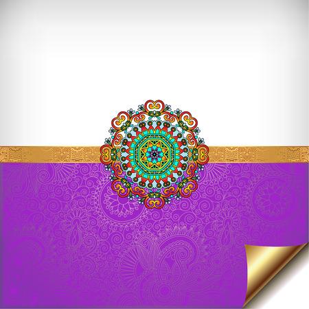 bhai: violet greeting card for indian festival sisters and brothers Raksha Bandhan with rakhi bracelet, vector illustration