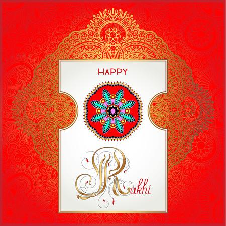 bhai: red Happy Rakhi greeting card for indian holiday Raksha Bandhan with original ornamental bangle on floral light background, vector illustration