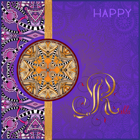 rakhi: violet greeting card for indian festive sisters and brothers Raksha Bandhan with calligraphy inscription Happy Rakhi and original ethnic bangle on floral background, vector illustration