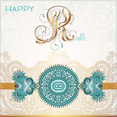 raksha: Happy Rakhi greeting card for indian holiday Raksha Bandhan with original ornamental bangle on floral light background, vector illustration Illustration