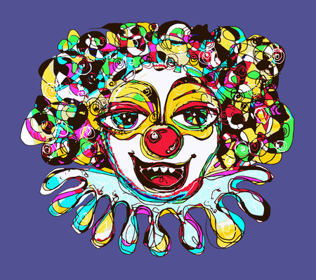 hair mask: digital drawing of abstract clown, vector illustration