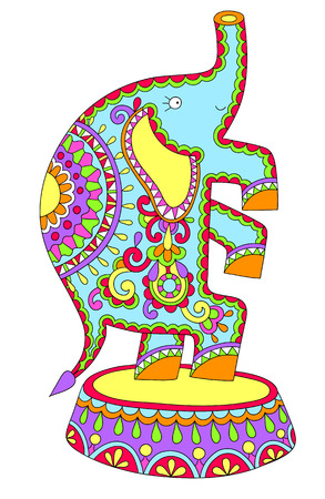 cirque: decorative ethnic colored drawing of circus theme - elephant performance, vector illustration Illustration