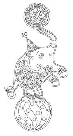 cirque: black and white line art illustration of circus theme - elephant balancing on a ball, you can use like coloring book for adults, vector illustration Illustration