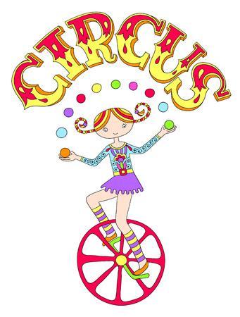 cirque: line art drawing of circus theme - teenage girl juggler on unicycle with inscription CIRCUS, vector illustration