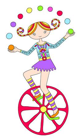 unicycle: line art drawing of circus theme - teenage girl juggler on unicycle, vector illustration
