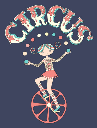 line art drawing of circus theme - teenage girl juggler on unicycle with inscription CIRCUS on dark blue background, vector illustration