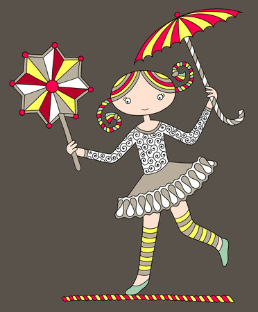 carny: colored line art drawing of circus theme - pretty girl acrobat walking a tightrope with an umbrella and decorative star, vector illustration