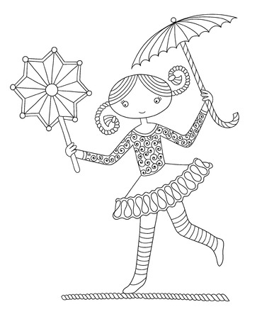 carny: black and white line art illustration of circus theme - pretty girl acrobat walking a tightrope  with an umbrella and decorative star,  you can use like coloring book for adults, vector illustration