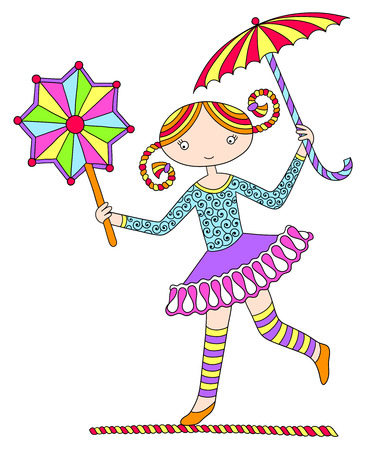tightrope walker: colored line art drawing of circus theme - pretty girl acrobat walking a tightrope with an umbrella and decorative star, vector illustration