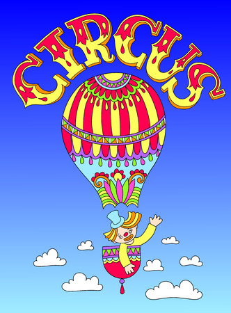 cirque: colored line art drawing of cirque theme - clown in a balloon  with inscription CIRCUS, vector illustration Illustration