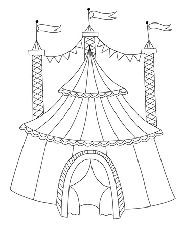 encampment: black and white line art illustration of circus tent, you can use like coloring book, vector illustration