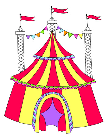 encampment: red and yellow line art drawing of circus tent, vector illustration Illustration