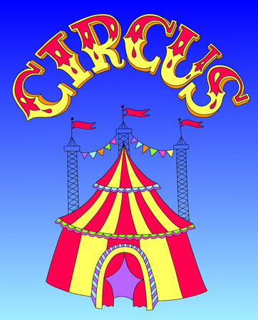 encampment: red and yellow line art drawing of circus tent on blue sky background, vector illustration eps10