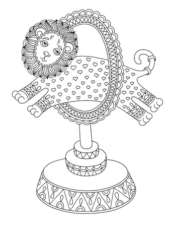 lion drawing: black and white line art illustration of circus theme - a lion jumps through a ring, you can use like coloring book for adults, vector illustration