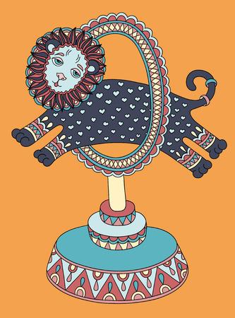 lion dessin: coloré dessin d'art de la ligne de thème du cirque - un lion saute à travers un anneau, illustration vectorielle
