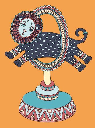lion drawing: colored line art drawing of circus theme - a lion jumps through a ring, vector illustration