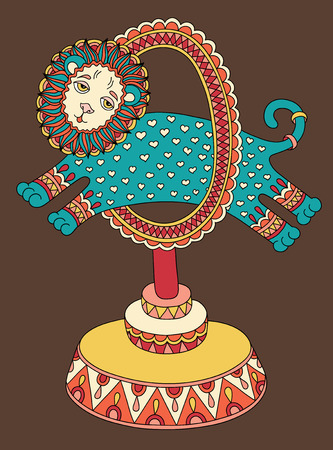 line drawing: original colored line art drawing of circus theme - a lion jumps through a ring, vector illustration Illustration