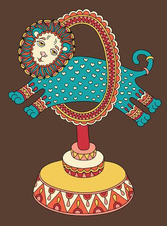 lijntekening: originele gekleurde lijn art tekening van circus thema - een leeuw springt door een ring, vector illustratie