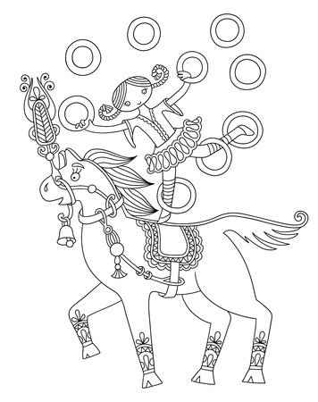 horse like: black and white line art illustration of circus theme - girl juggler astride on a horse,  you can use like coloring book for adults, vector illustration
