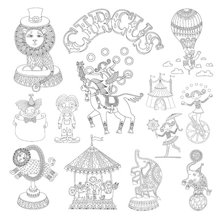 circus ticket: black and white line art drawings collection of circus theme, you can use like coloring book for adults, vector illustration