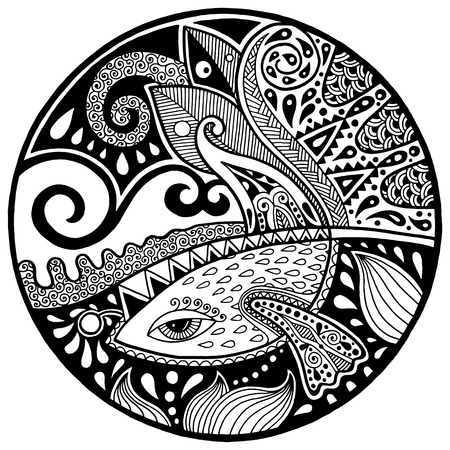 Black and white abstract zendala with fish and waves on circle