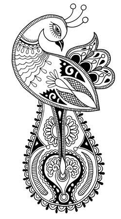 diseño: pavo real blanco y negro dibujo étnico decorativos Vectores