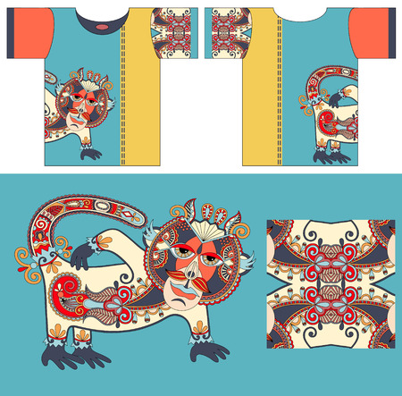 tshirts: original t-shirt design with unique decorative fantasy animal in ukrainian karakoko style for printing, fashion vector illustration