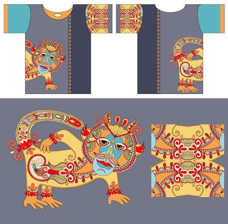 ethno: original t-shirt design with unique decorative fantasy animal in ukrainian karakoko style for printing, fashion vector illustration
