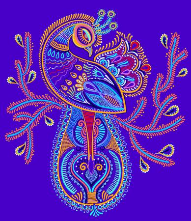 peacock feathers: arte popular étnica de pájaro del pavo real con un diseño rama florida, ilustración pintura del punto del vector