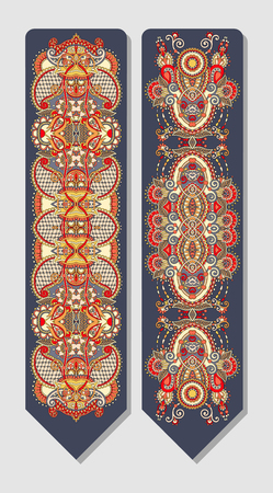 east indian: floral decorative ethnic paisley bookmark for printing, vector illustration