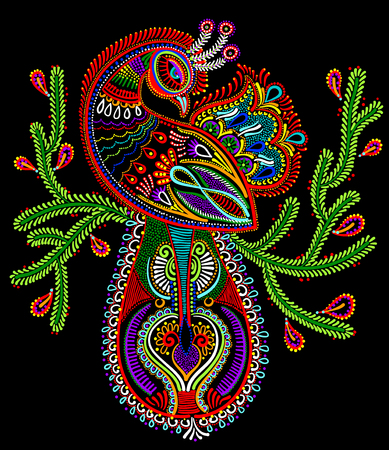 ornamental design: ethnic folk art of peacock bird with flowering branch design, vector dot painting illustration Illustration