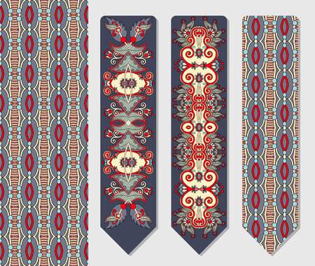 ethno: floral decorative ethnic paisley two bookmark for printing, double-sided layout vector illustration