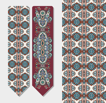 floral decorative ethnic paisley bookmark for printing, double-sided layout illustration Illustration