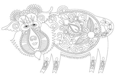 lijntekening: zwart-witte lijntekening in Oekraïense karakoko stijl van decoratieve ongewone fantastische wilde zwijnen