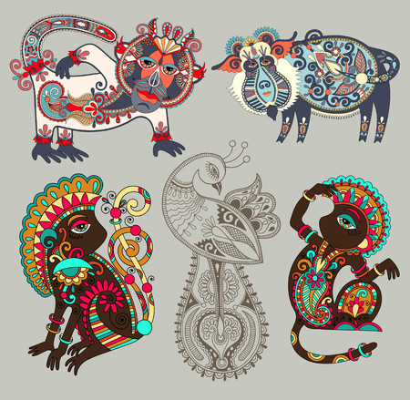 original: set of decorative ethnic folk animals and bird in Ukrainian traditional karakoko style