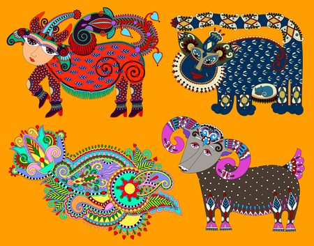 ukrainian traditional: set of decorative ethnic folk animals in Ukrainian traditional karakoko style
