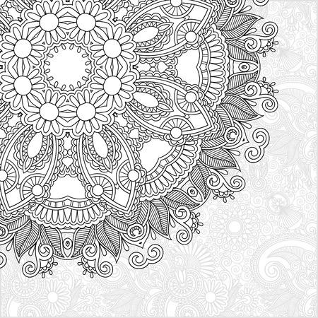 unique coloring book square page for adults - floral authentic carpet design Illustration
