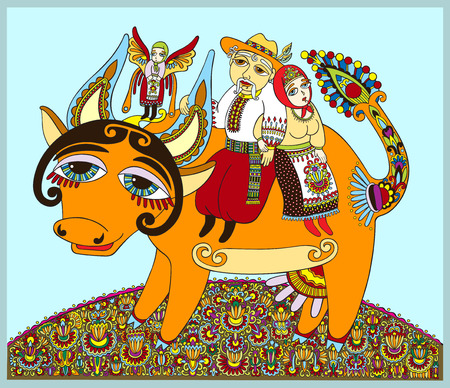 authentic ukrainian traditional painting men and women ride on a cow, decorative vector illustration Illustration
