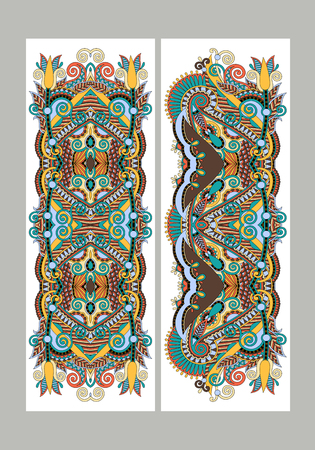 Two composition template layout specially for sublimation printing on standard mug in A4 format paper, ethnic floral pattern, vector illustration