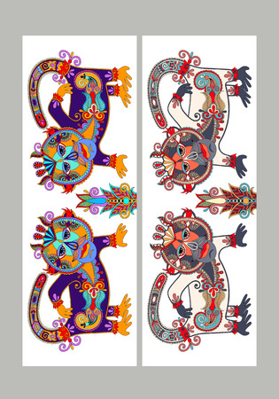 sublimation: Two composition template layout specially for sublimation printing on standard mug in A4 format paper,  folk ethnic animal - monkey, vector illustration Illustration