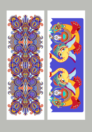 sublimation: Two composition template layout specially for sublimation printing on standard mug in A4 format paper, ethnic floral pattern and fantasy animal submarine, vector illustration Illustration