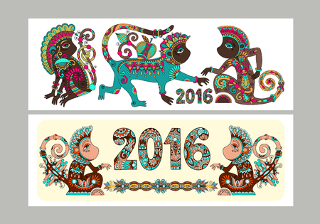 Two composition template layout specially for sublimation printing on standard mug in A4 format paper, original design collection for new year celebration with decorative ape and inscription - 2016 Illustration