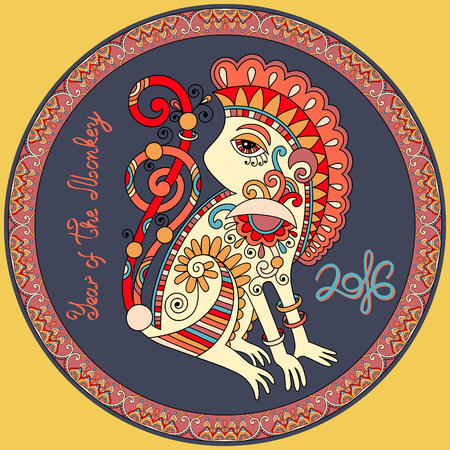 chinese ethnicity: original design for new year celebration with decorative ape and inscription - 2016 Year of The Monkey - on circle ornament with light yellow color background, vector illustration