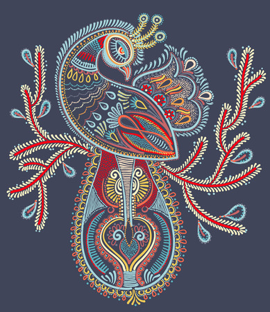 art and craft: ethnic folk art of peacock bird with flowering branch design, vector dot painting illustration Illustration